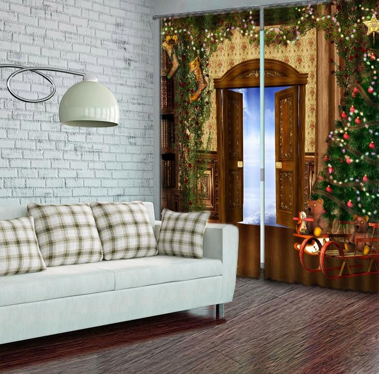 3D Christmas Mysterious Door Window Curtain for Living Room3D Christmas Mysterious Door Window Curtain for Living Room