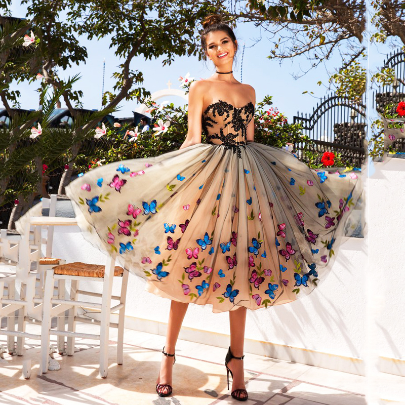 Burterfly Koronki Aplikacje Plisowane Formalna Kobiety Suknia Balowa Suknia dla Mody Dziewczyna prom Urodziny Wieczór Party Rocznika Mały Desses w Suknie od Odzież damska na  Grupa 1