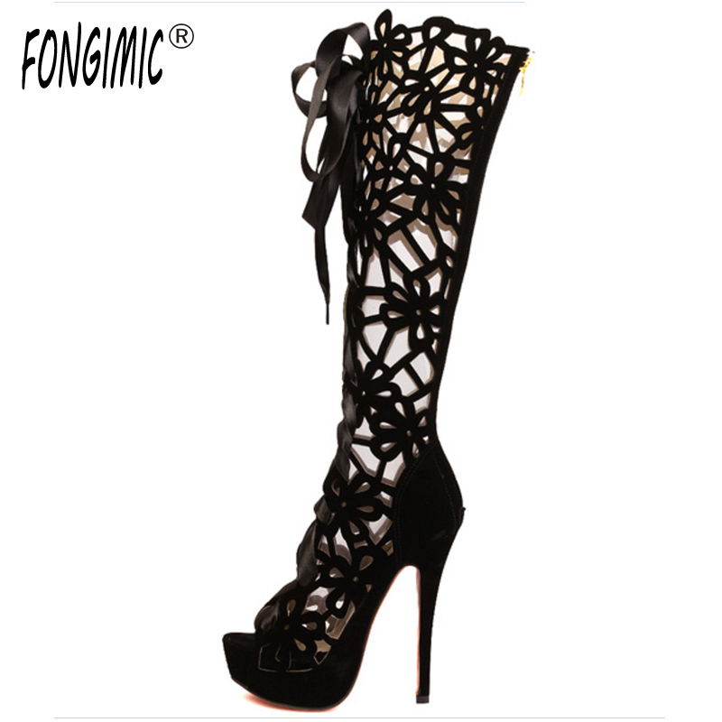 FONGIMIC women summer high heel cool boots ladies classical high vamp large size breathable boots with