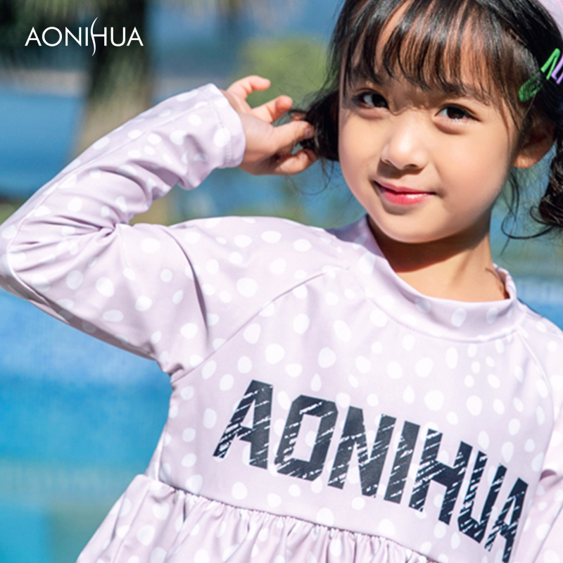 AONIHUA Two Piece Swimsuit For Kids Cute Girl Swim Wear Letter Print Bathing Suit Polyester Long sleeve Top Outdoor Swimwear girl