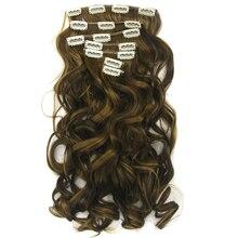 """Soowee 7 шт./компл. 24 """"Длинные Волнистые Синтетических Волос Блондинка Коричневый Клип В Наращивание Волос Полной Головки Волос Кусок для женщины"""