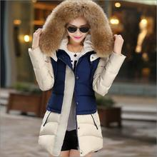 2016 New Arrival winter jacket women fashion down cotton jacket Floral printing long sleeve Slim long fur collar hooded coat