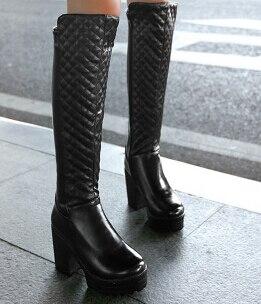 La 9725 43 Para Tacón Rodilla Botas Mujer Talla Grande Hasta Negro Plataforma blanco Alto Moda Con De 2015 Martin Novedad 35 7CdF1xq7