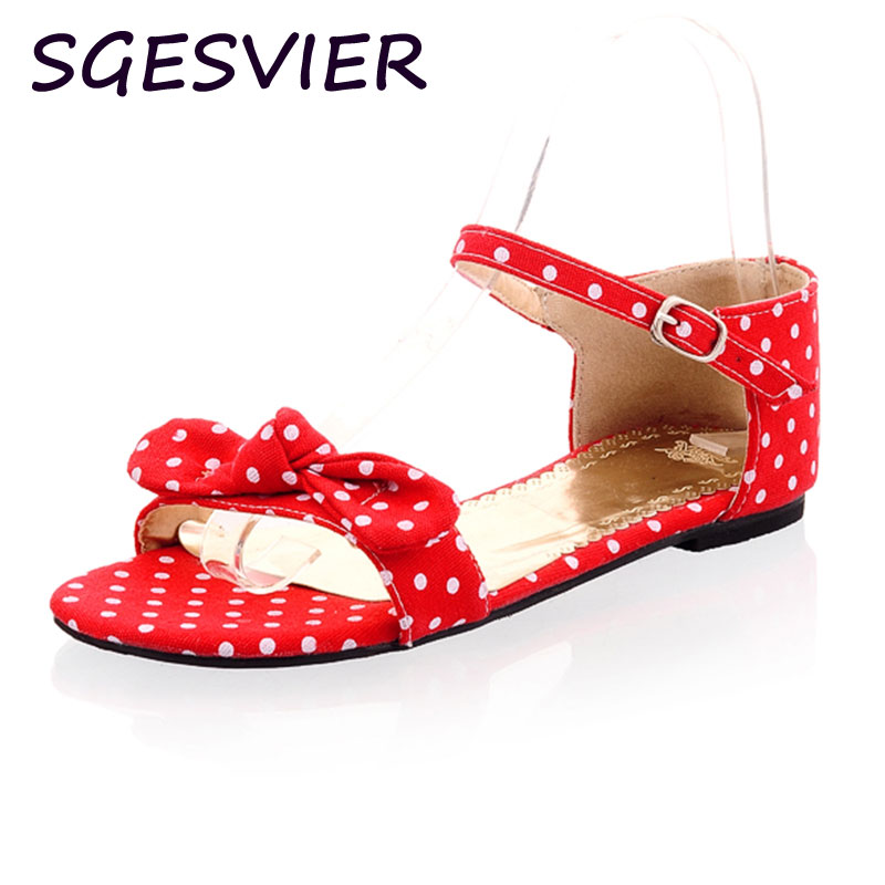 SGESVIER 34-44 Sweet Polka Dot Bow shoes Transpierce Gentlewomen Brief Hasp flat-bottomed Female Sandals Summer New flat OX011