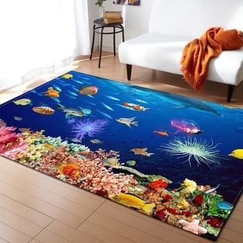 3D אוקיינוס עולם כריש אזור שטיח ילדי נושא חדר קישוט שטיחים זיכרון קצף החלקה מחצלות רך פלנל שטיח סלון|שטיח|   -