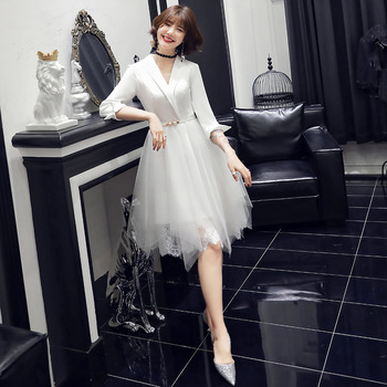 White Short Chinese Oriental Party Wedding Female V-Neck Cheongsam Bridesmaid Evening Dress Elegant Celebrity Banquet Dresses