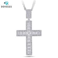 DovEggs Classic 2.5CTW H Color Moissanite Diamond Cross Pendant Necklace For Men Sterling Solid 925 Silver Cross Necklaces недорого