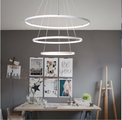 JCZ Free hipping LED 90W 80+60+40CM Pendant Light Modern Design/ LED Ring Special for office,Showroom,LivingRoom 110-240V