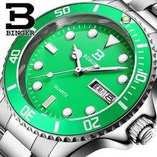 Швейцария Binger Мужчины Роскошные Спортивные Часы полный нержавеющей Стали Кварцевые Супер Большой Наручные Часы Световой Зеленый Часы