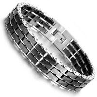 Tungsten Magnetic Hematite Mens Bracelet 8 B1403
