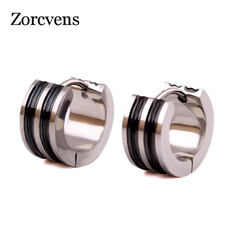 ZORCVENS Classic Stud Earrings 316L Stainless Steel Small Circle Stud Earrings For Men Black Silver Color Strip Pattern Earrings