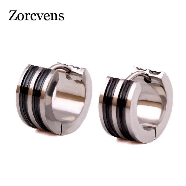 ZORCVENS Classic Stud Earrings 316L Stainless Steel Small Circle Stud Earrings For Men Black Silver Color.jpg 640x640 - ZORCVENS Classic Stud Earrings 316L Stainless Steel Small Circle Stud Earrings For Men Black Silver Color Strip Pattern Earrings