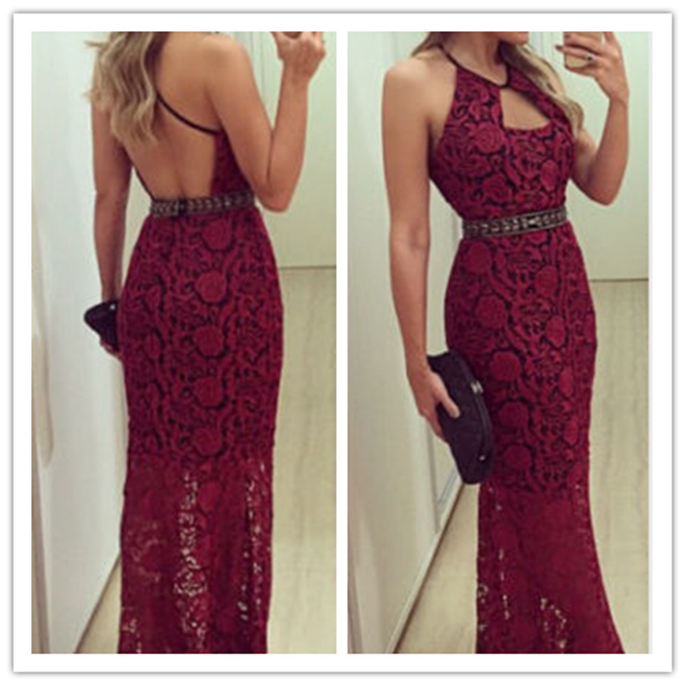 sexy women long lace evening prom party dresses christmas red bandage bodycon maxi dress vintage wrap dress vestido de renda - Long Christmas Dresses