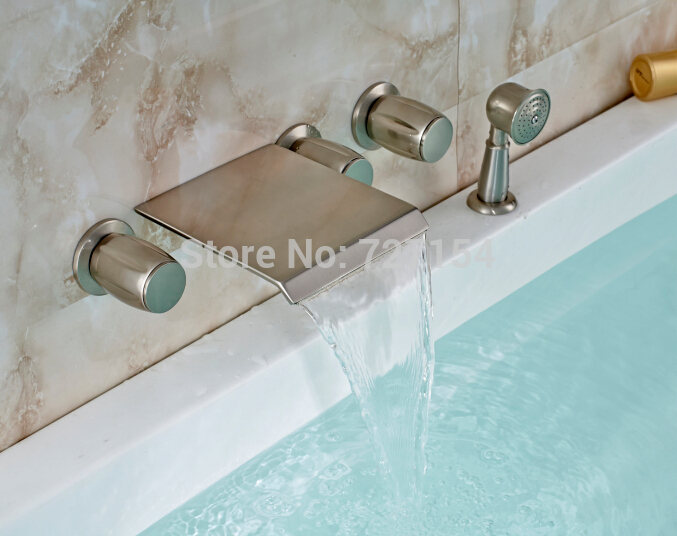 Free Shipping! New Waterfall Spout Wall Mounted Bathroom Tub Faucet Nickel Brushed Shower Mixer nickel brushed waterfall tub spout bath shower mixer faucet wall mounted single handle bathroom shower faucet with handshower