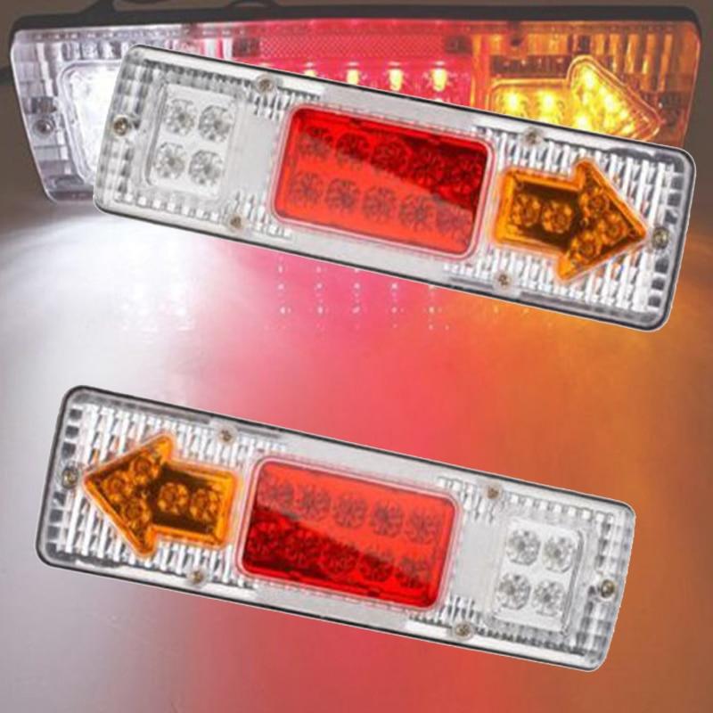 castaleca 12V 24V 1 Pair 19LEDs ATV Trailer Truck LED Tail Light Lamp Taillight Reversing Running Brake Turn Lights white red 2pcs 12v 70leds trailer truck led tail light lamp yacht car trailer taillight reversing running brake turn lights