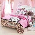 Ropa de cama de textiles para el hogar, Niños patrón de la Historieta, Hello kitty juegos de cama incluye funda nórdica sábana funda de almohada
