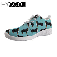 HYCOOL Water Sports Aqua Shoes Bernese Mountain Dog Printing Women Upstream Shoes Flats Breathable Gym Shoes Sport Swimming 2019