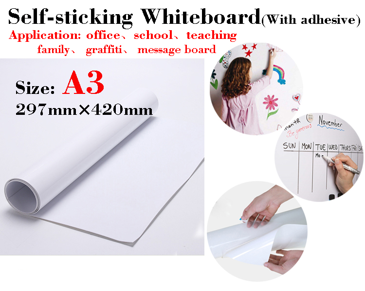 Self-sticking Whiteboard Soft Message Board Dry Erase White Board School Board Memo Boards Children's Drawing Graffiti A3 Size