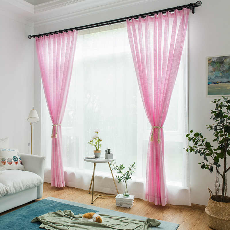 Linen curtains Solid Tulle Windows Screens Sheer Panels Curtains For Living Room Modern Bedroom Balcony Custom 342&30