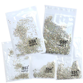 SS3-ss8 1440pcs Clear Crystal AB gold  3D Non HotFix FlatBack Nail Art Rhinestones Decorations Shoes And Dancing Decoration 1