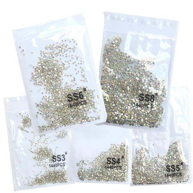 SS3-ss8 1440 шт. прозрачный кристалл AB золото 3D Б ез исправлений для ногтевого дизайна с плоской задней частью Стразы украшения для обуви и украше...