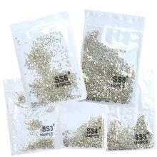SS3-ss8 1440Pcs Clear Crystal Ab Gold 3D Niet Hotfix Plaksteen Nail Art Rhinestones Decoraties Schoenen En Dansen Decoratie