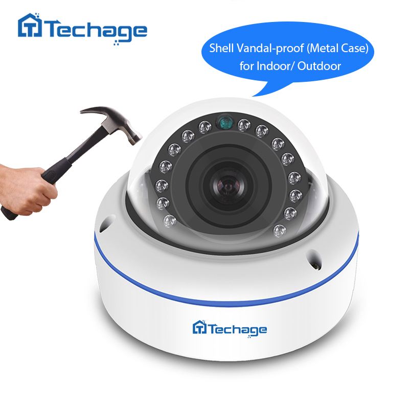 Techage 1080P Full HD CCTV 48V POE IP Camera VandalProof Anti-Vandal Indoor Outdoor P2P Onvif Security Surveillance Dome Camera techage h 265 4mp 2592 1520 vandalproof anti vandal poe ip camera indoor outdoor metal case ip66 onvif p2p dome cctv hd camera