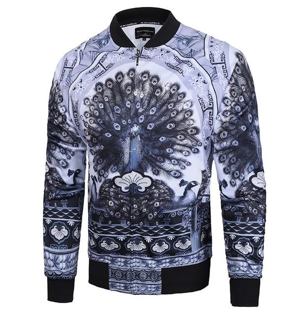 6cd2c73b73a8 3D Grey Peacock Men zipper jacket Street fashion Top coat hip hop  sweatshirts winter tracksuit This year the trend of new