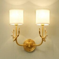 Cała miedź ciała po nowoczesne jelenie głowy kinkiet salon światła na ścianie sypialni kinkiety ścienne oświetlenie oprawa tkaniny abażur