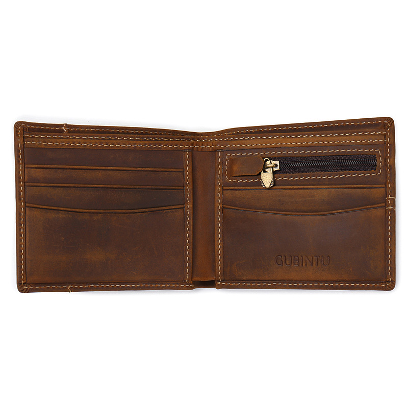 Fashion Men Wallets Cow Genuine Leather Mens Purses Vintage Male Short Rfid Credit Card Holder Purse Boys Money Pouch Pocket