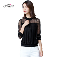 Lace Patchwork Long Sleeve Women Tee Tops New 2018 Spring Solid Stand Sexy Hollow Casual Loose