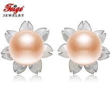 FEIGE 6-7mm Pink Freshwater Pearls Shell Carvings 925 Sterling Silver Stud Earrings For Women Exclusive Design Fine Jewelry