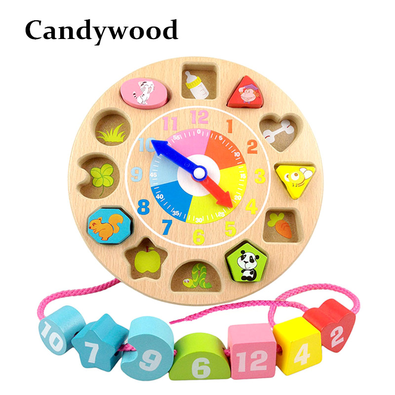 Candywood Wooden Blocks toys Cartoon font b Digital b font Geometry Clock Toy Children s Montessori