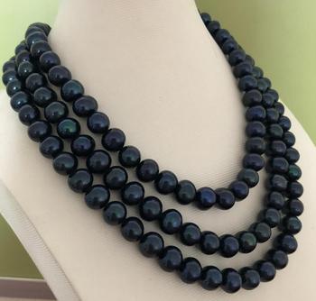 Tour De Cou Noir Et Or | Superbe Collier De Perles Noires De Tahiti 9-10mm Rondes 48 Pouces 14 K/20