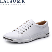 2019 LAISUMK Men Casual Shoes Footwear Comfortable Leather Oxfords Big Size 6-15