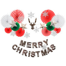 Merry Christmas Banner Decorations for Home Snowflake Hanging Paper Fan Deer Head with Stars Garland for Xmas Holiday Home Decor new nature color merry christmas banner with glitter stars trees holiday garland festive bunting for xmas party fireplace mantel