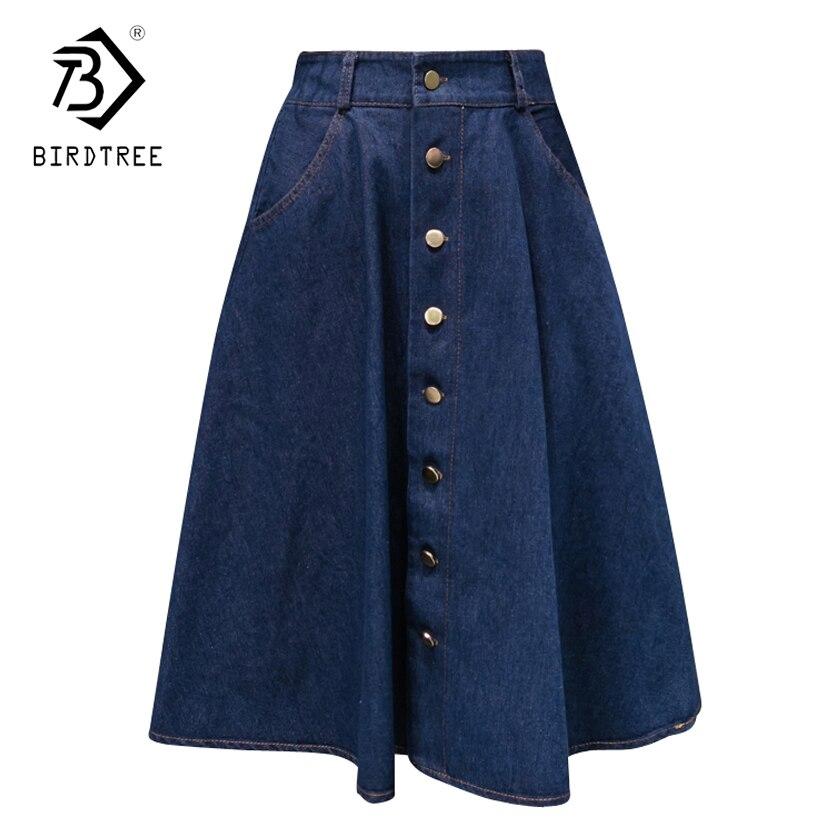 Denim Women Solid Color Long Skirts 2018 Fashion Korean Preppy Style High Waist Female Big Hem Casual Button Jean Skirts B82806A