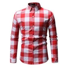 New Autumn Fashion Brand Men Clothes Slim Fit Long Sleeve Shirt Plaid Cotton Casual Social Plus Size M-3XL