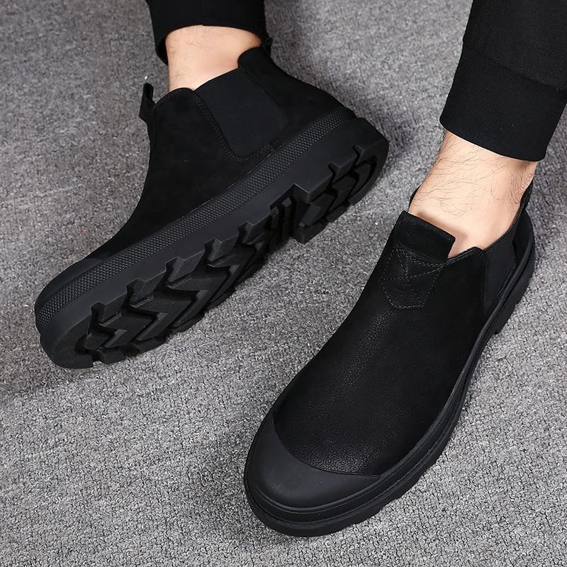 Mão 2018 Novos Black Couro black Feitos Tornozelo Moda Outono De plush Botas Chelsea Sapatos Inverno Primavera À Heinrich Genuíno Homens Buty Da dtqZtw