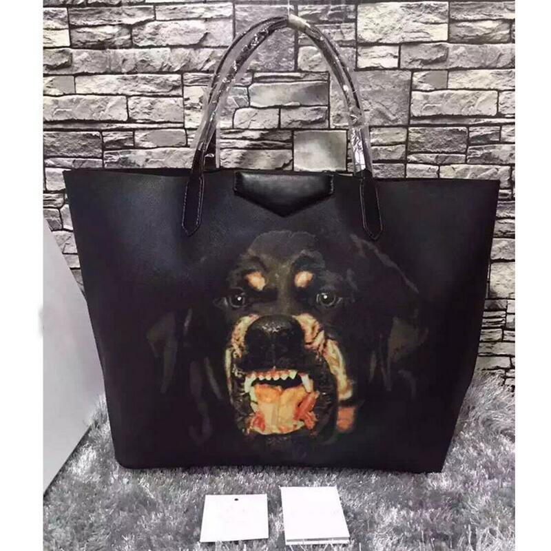 2017 New Vintage Genuine Leather Shoulder Bag Women Messenger Bags Zipper Handbags Ladies Envelope Bags Animal Rottweiler Totes