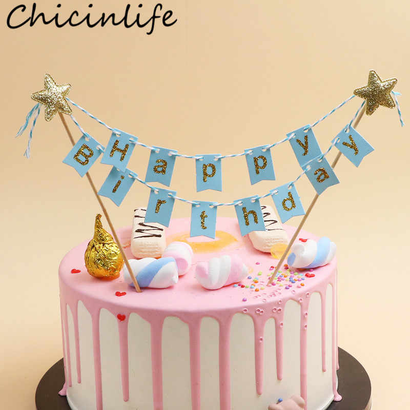 Chicinlife 1Set Happy Birthday Cake Bunting Banner Toppers Boy Girl Party Baby Shower