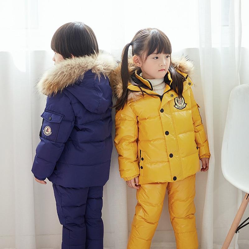 2019 enfants vêtements garçon fille canard en duvet de fourrure à capuche détachable veste enfant en bas âge filles hiver chaud manteau 2 pièces costume imperméable à l'eau - 4