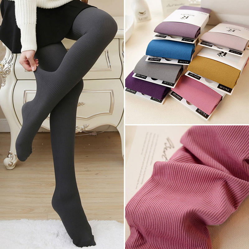 1PC New 5 Colors Women High Quality Autumn Winter Pantyhose Fashion Striped Female Tights