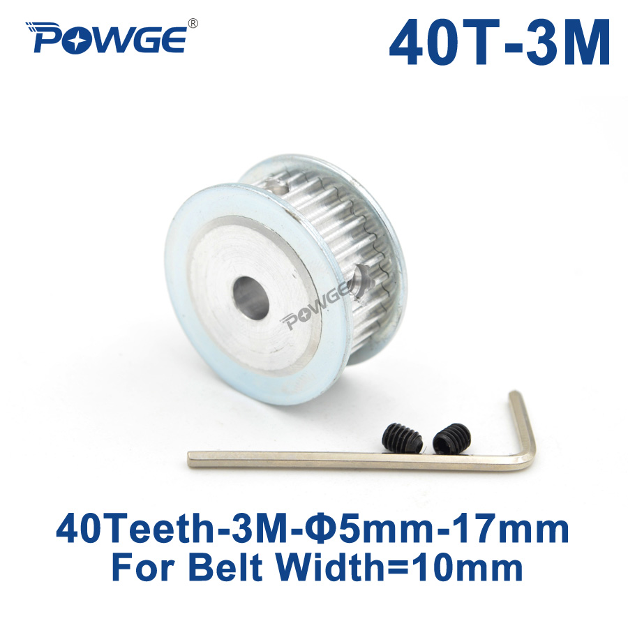 POWGE 40 Teeth HTD 3M Synchronous Timing Pulley Bore 5/6/6.35/8/10/12/14/15/16/17mm for Width 10mm HTD3M belt pulley 40T 40Teeth все цены