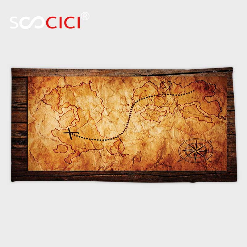 Custom Microfiber Ultra Soft Bath/hand Towel,Island Map Decor Unique Dated Old Map in Dense Color on Wooden Background Hide