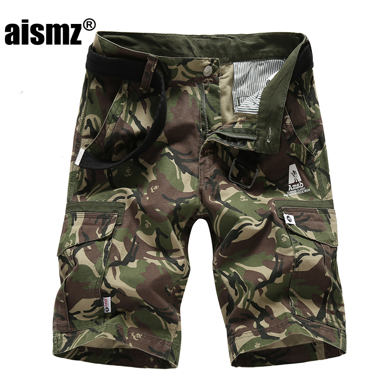 Aismz Summer Camouflage Cargo Shorts Men New Mens Casual Multi-pocket Military Shorts Male Loose Work Shorts for man brand Short