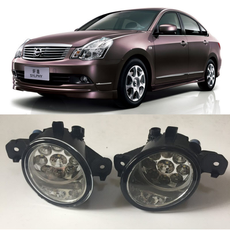 For Nissan Almera G11 2012- RU Sylphy 2005-2008 9-Pieces Leds Fog Lights H11 H8 12V 55W Halogen LED Fog Head Lamp Car-Styling for opel astra h gtc 2005 15 h11 wiring harness sockets wire connector switch 2 fog lights drl front bumper 5d lens led lamp