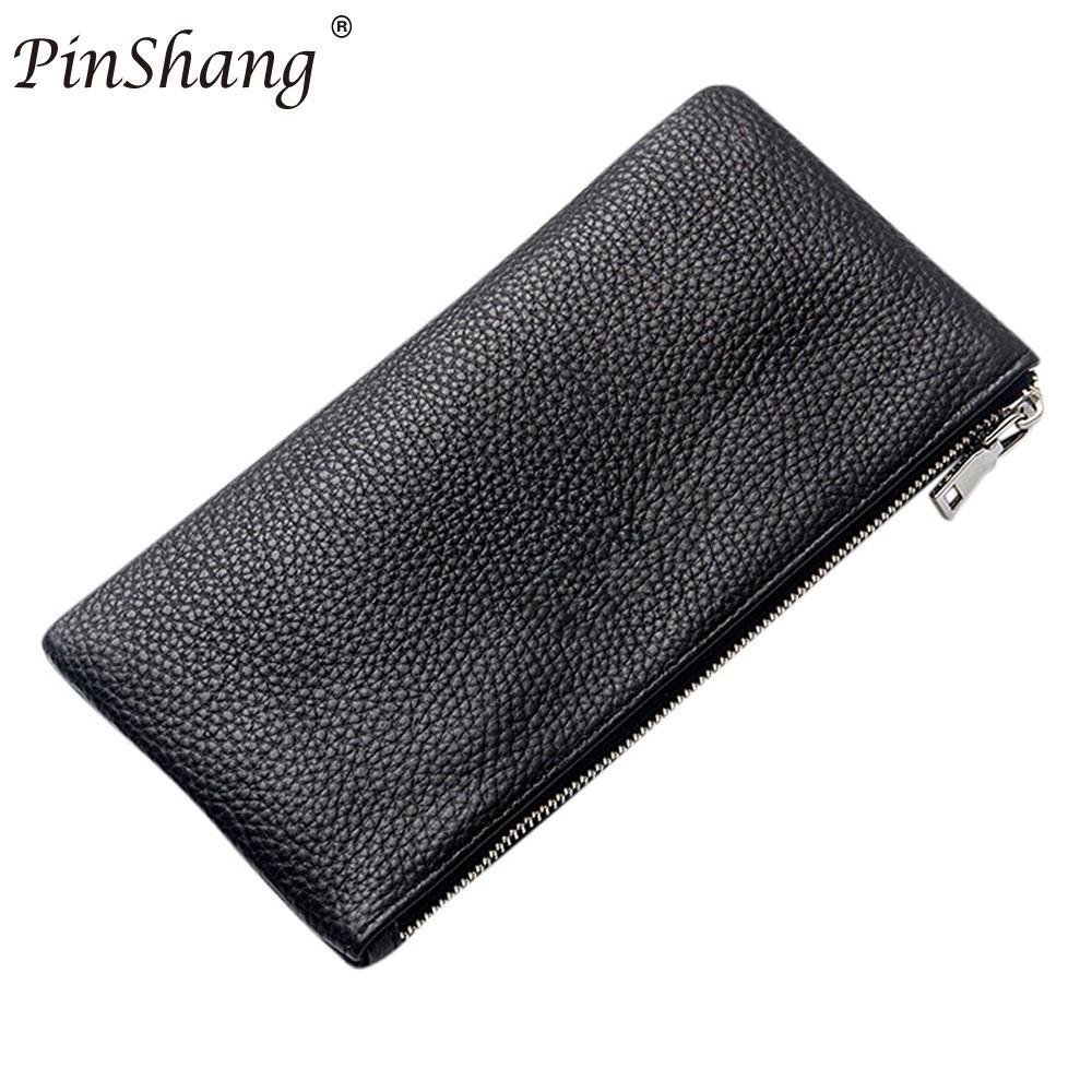 PinShang Men Leather Rectangle Wallet Soft Wear Resistance Retro Handbag Christmas Gift for men clutch business