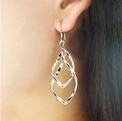 Free Shipping Wholesale Zinc Alloy Twisted Gold Women's Earring Best Gift Fashion Jewelry