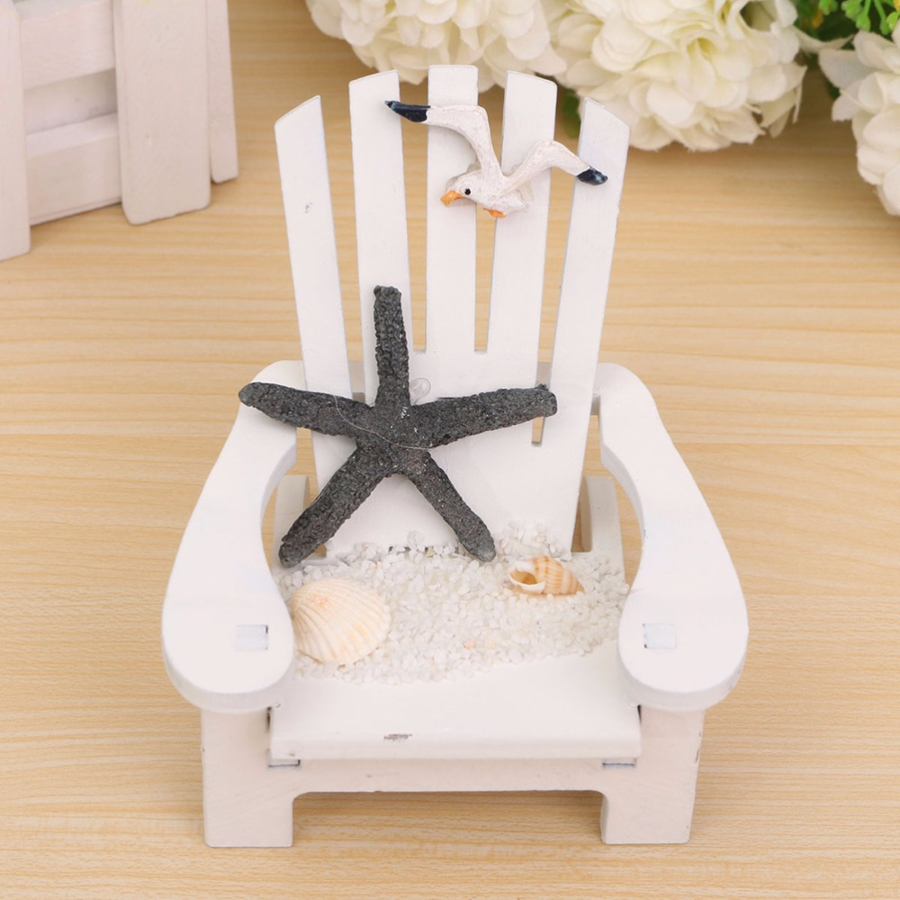 1pc Wood Decoration Mediterranean Style Wooden Mini Beach Chair Nautical Decor Home Decor Prop Wedding Decoration